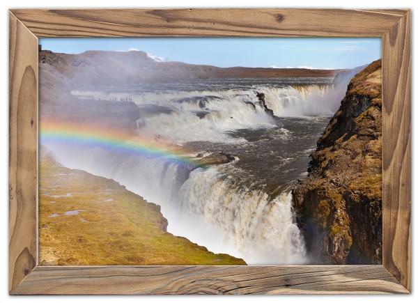 Gullfoss mit Regenbogen