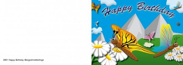 25 x Karten für Kinder Happy Birthday Schmetterlinge Nr. 2951