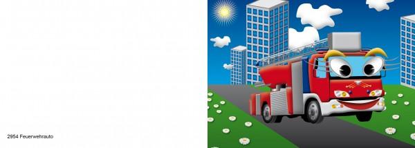 25 x Karten für Kinder Motiv Feuerwehrauto Nr. 2954
