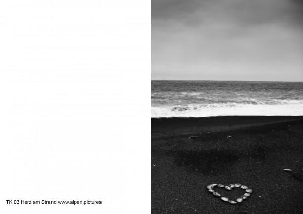 Trauerkarte Herz am Strand