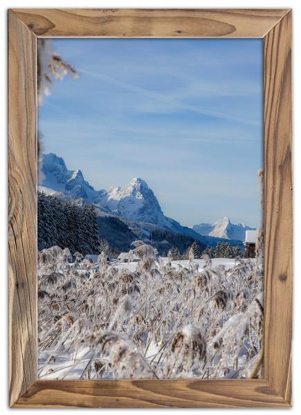 Waxenstein im Winter im Altholzrahmen