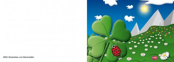 25 x Karten für Kinder Glücksklee & Marienkäfer Nr. 2952-Copy