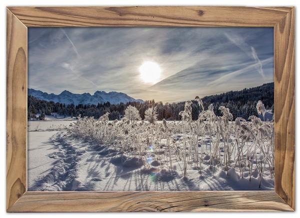 Wintersonne-See-Altholzrahmen