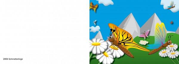 25 x Karten für Kinder Motiv Schmetterlinge Nr. 2959